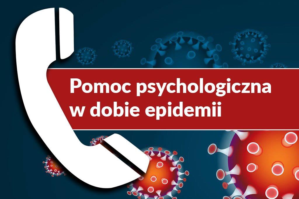 Obrazek przedstawiający telefon oraz napis Pomoc psychologiczna w dobie pandemii